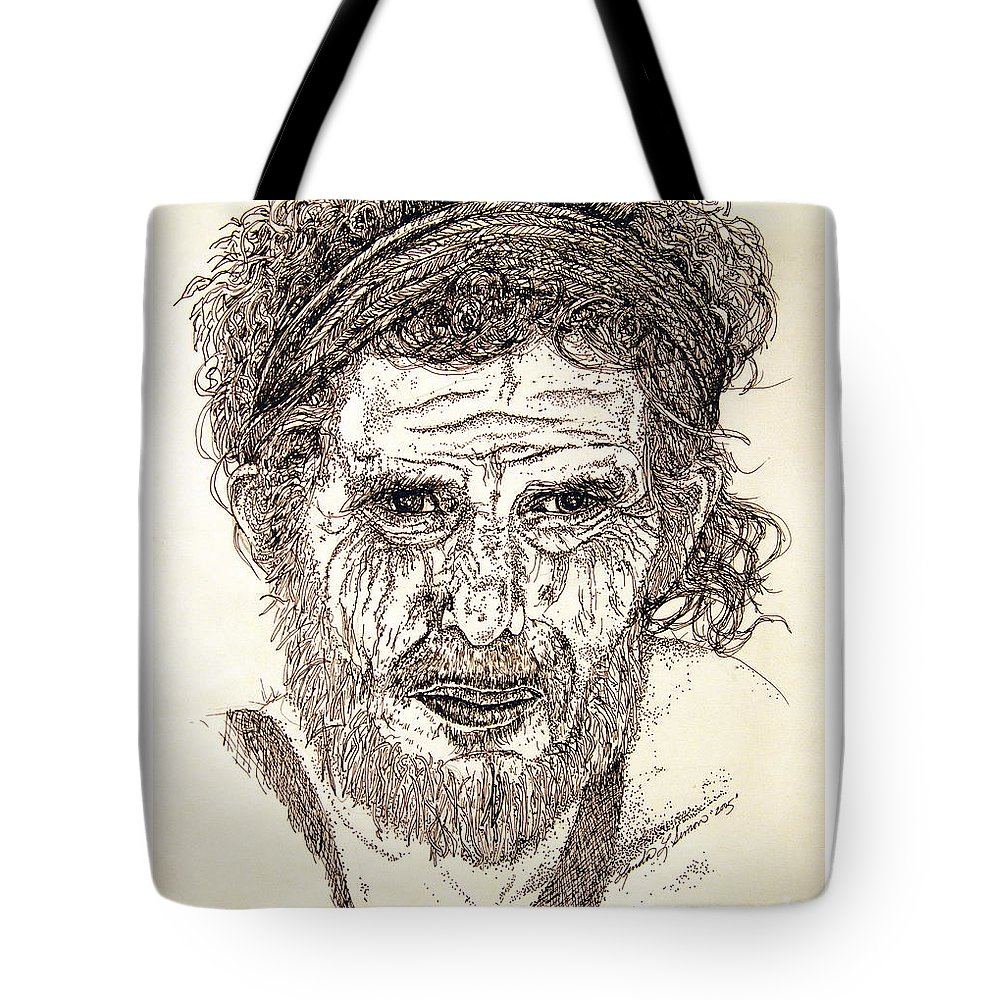 Man Tote Bag featuring the drawing Hobo by Linda Simon