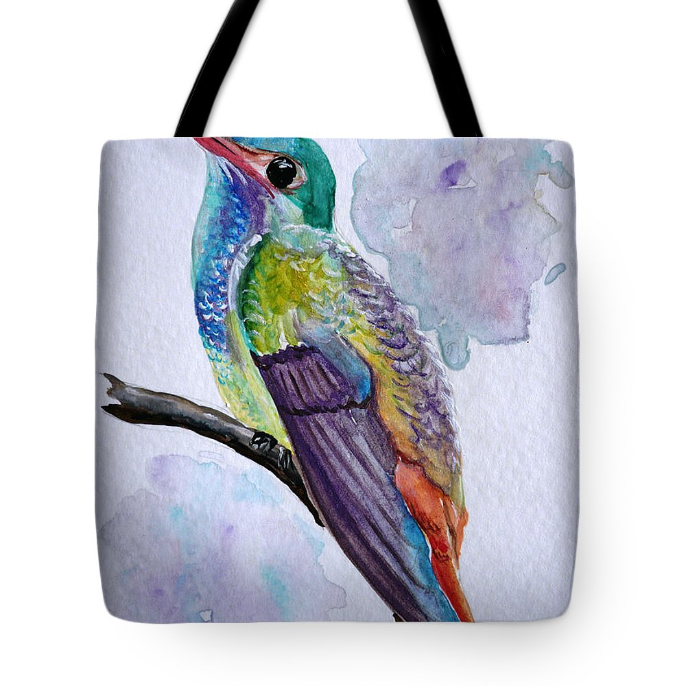 Humming Bird Painting Bird Painting Tropical Painting Caribbean Painting Tote Bag featuring the painting Hummingbird 1 by Karin Dawn Kelshall- Best
