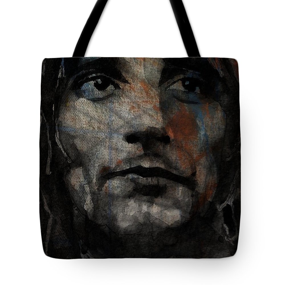 Rod Stewart Tote Bag featuring the painting I Was Only Joking by Paul Lovering