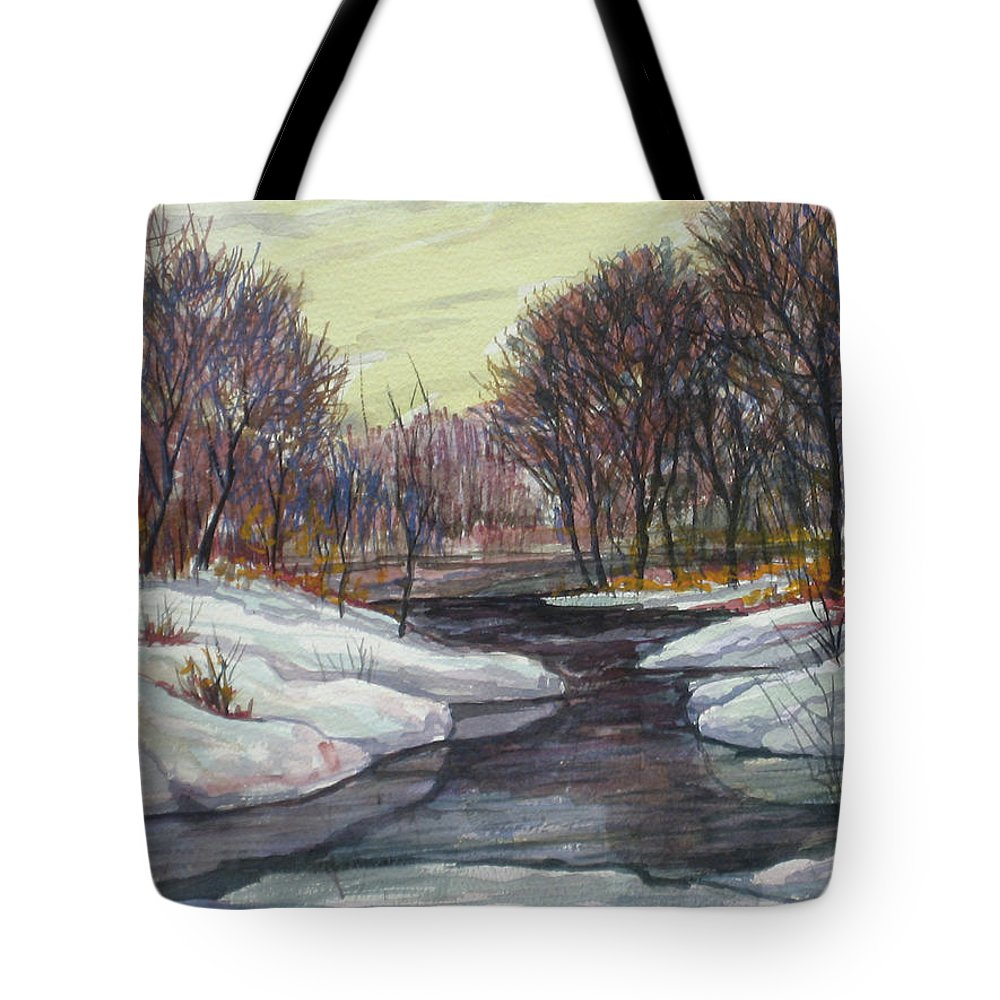 Tote Bag featuring the painting Ice Floods Acrylic 18x14 by Doug Jerving