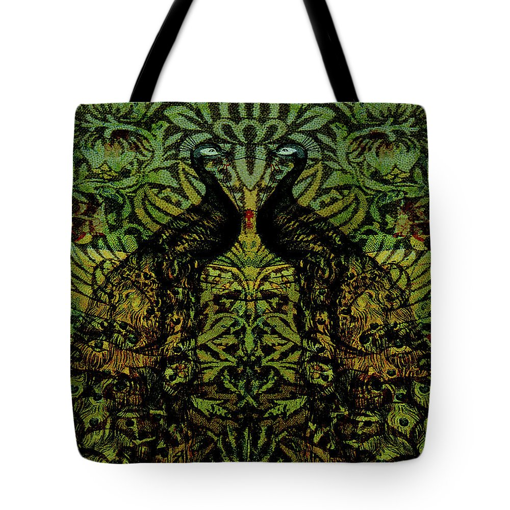Peafowls Tote Bag featuring the digital art Indian Blue Peafowl Pattern by Sarah Vernon