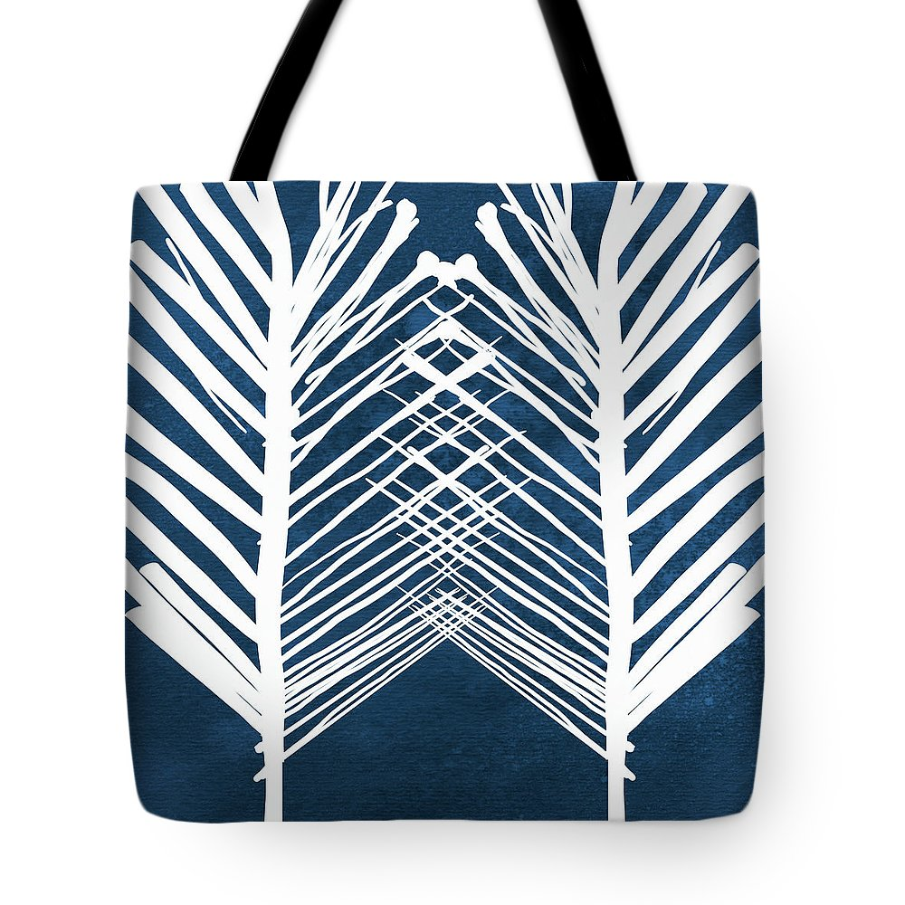 Leaves Tote Bag featuring the painting Indigo and White Leaves- Abstract Art by Linda Woods