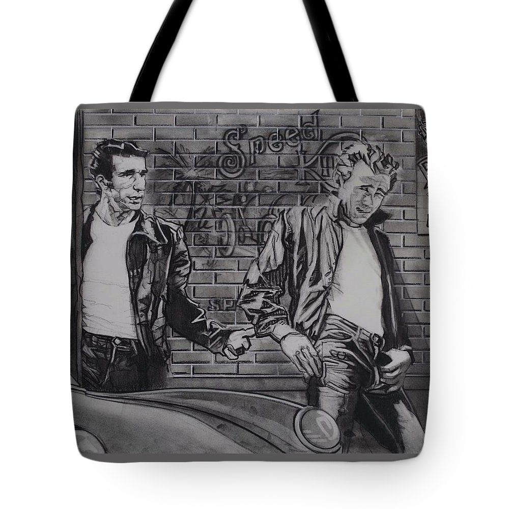 Charcoal On Paper Tote Bag featuring the drawing James Dean Meets The Fonz by Sean Connolly