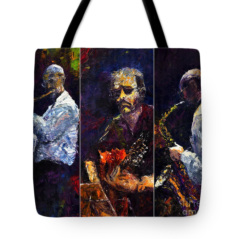 Jazz Tote Bag featuring the painting Jazz Triptique by Yuriy Shevchuk