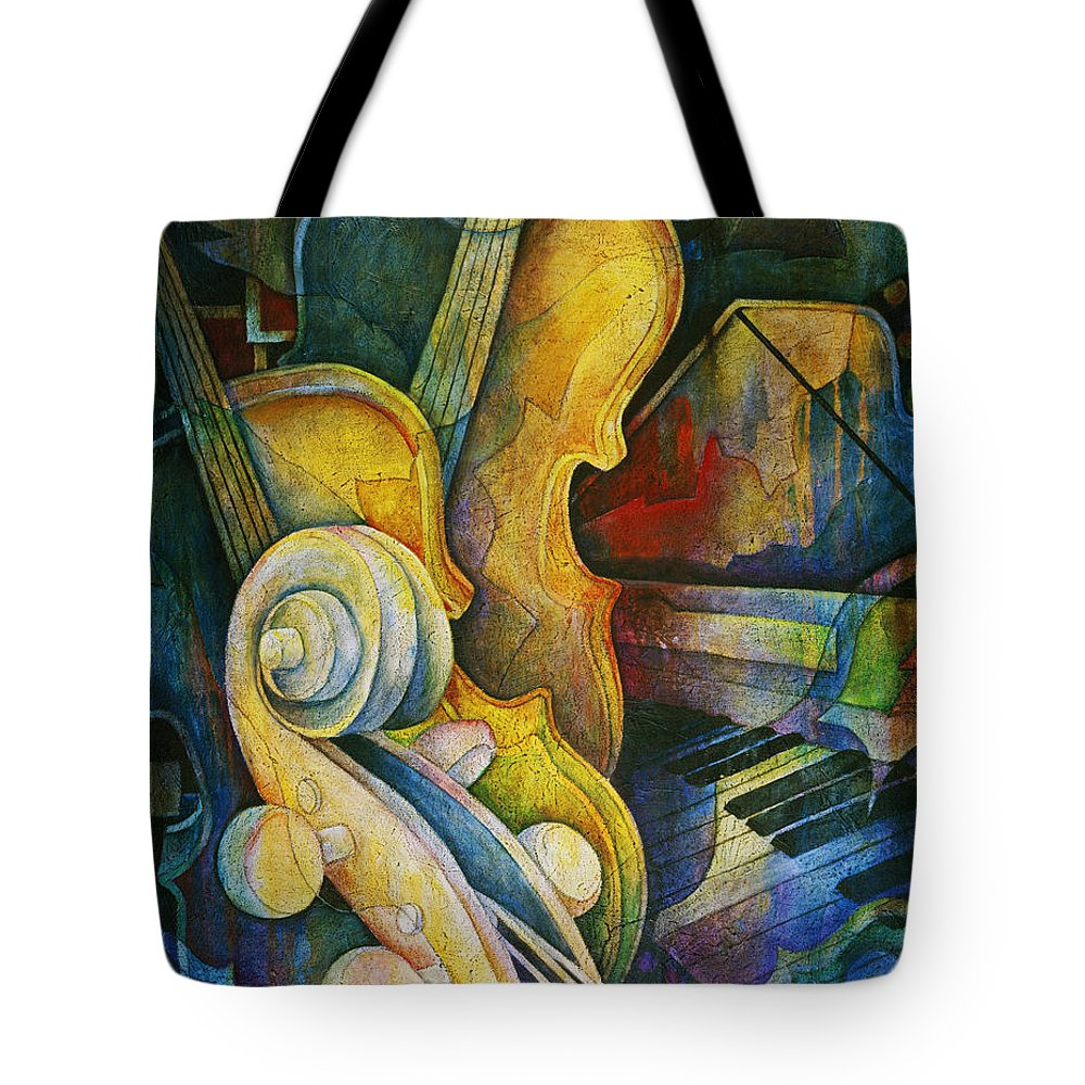 Susanne Clark Tote Bag featuring the painting Jazzy Cello by Susanne Clark