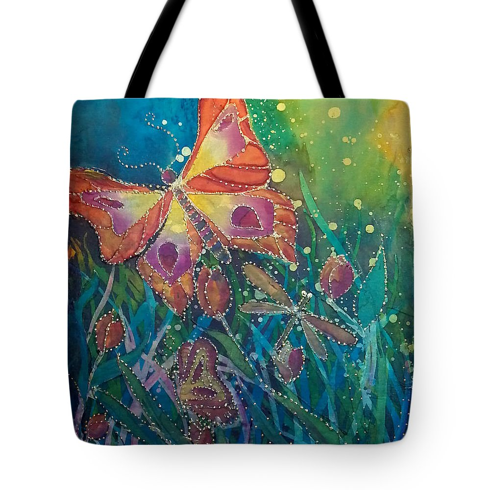 Silk Painting Tote Bag featuring the painting Jeweled Butterfly Fantasy by Francine Dufour Jones