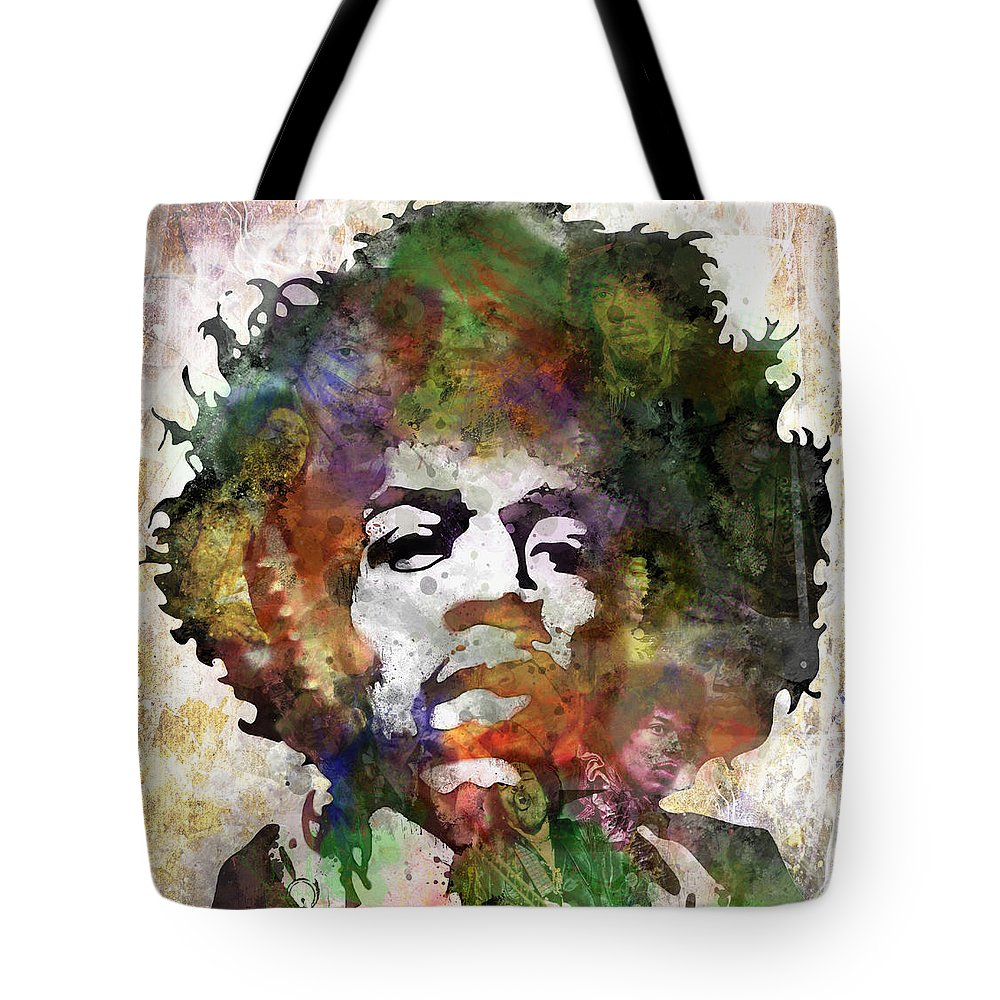Rock And Roll Jimi Hendrix Music Tote Bags