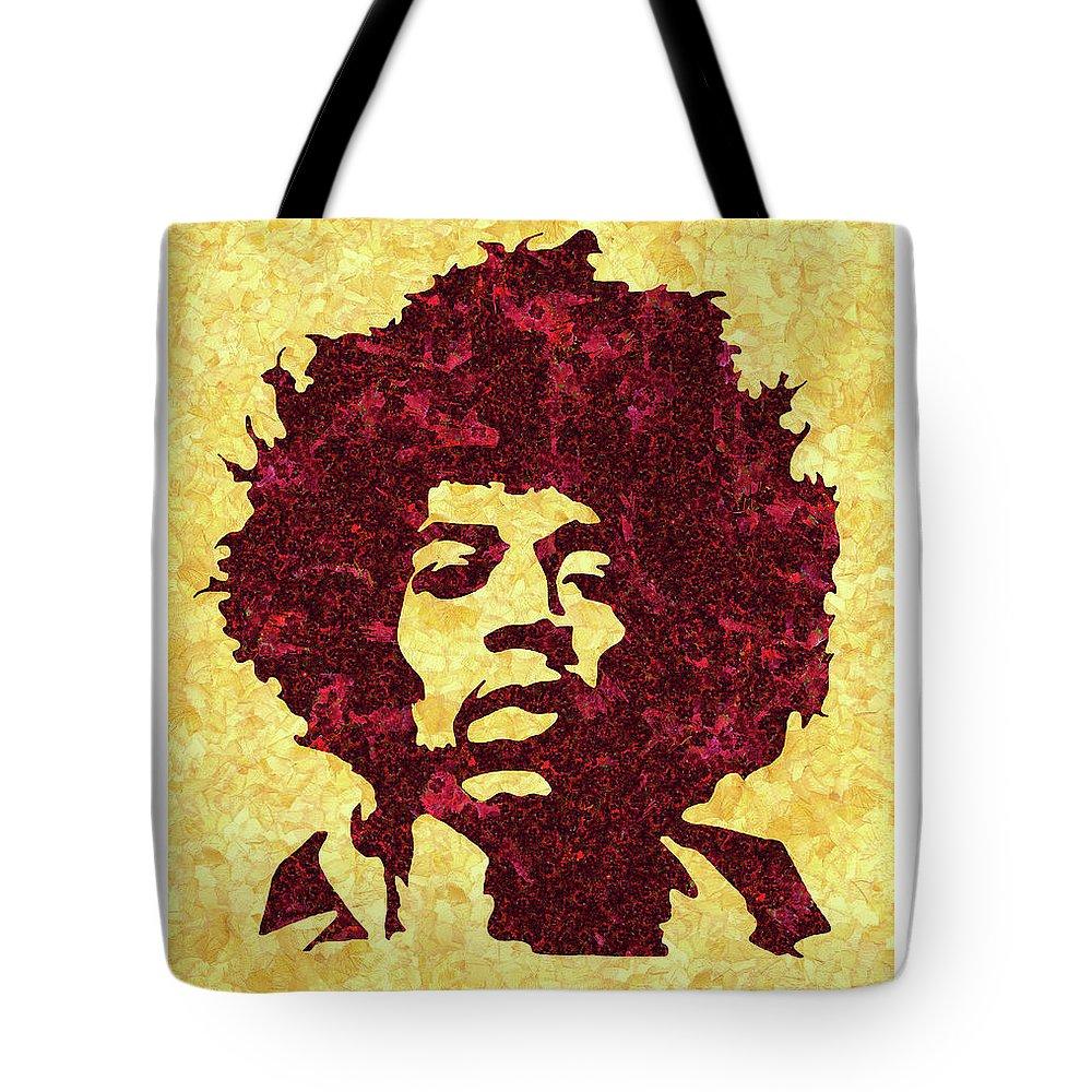 Jimi Hendrix Print Tote Bag featuring the mixed media Jimi Hendrix Print, Jimi Hendrix Poster, Rock Music Lovers Gift by Irina Pospelova