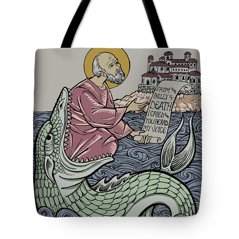 Jonah Tote Bag featuring the drawing Jonah and The Sea Monster by Jonathan Pageau