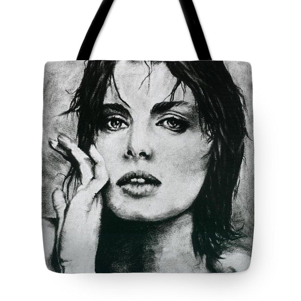 Nastassja Tote Bag featuring the drawing K by Ayka Yasis