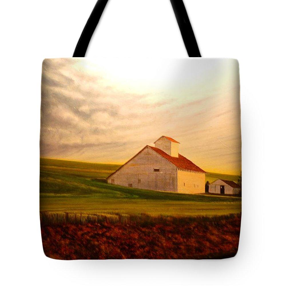 Palouse Tote Bag featuring the painting Kamiak Homestead by Leonard Heid