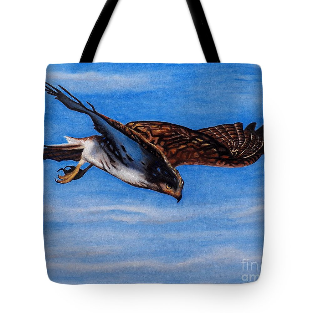 Hawk Tote Bag featuring the painting Keen Eye Bold Heart by Brian Commerford
