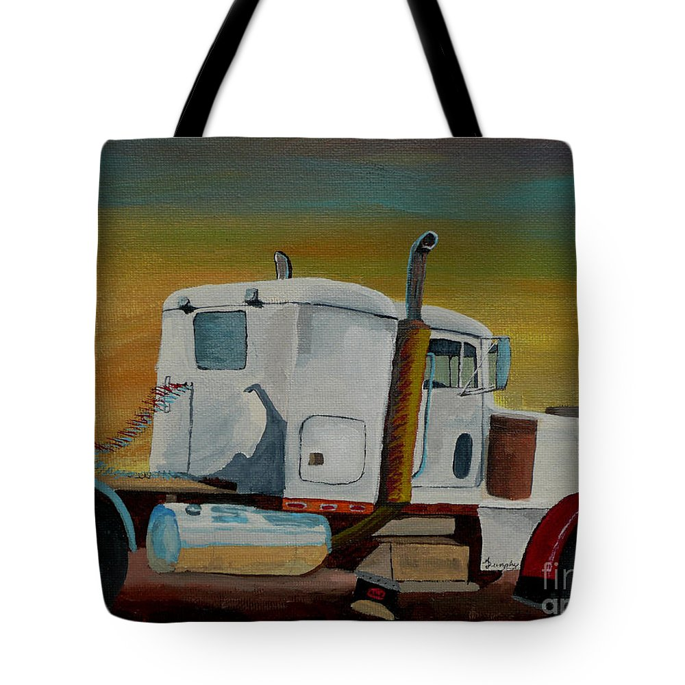Truck Tote Bag featuring the painting King of the Road by Anthony Dunphy