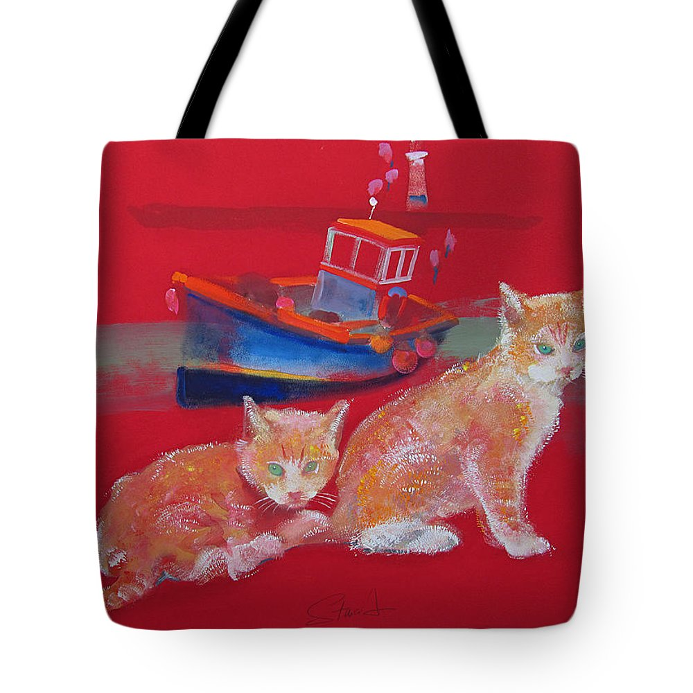 Kittens Tote Bag featuring the painting Kittens With Boat by Charles Stuart