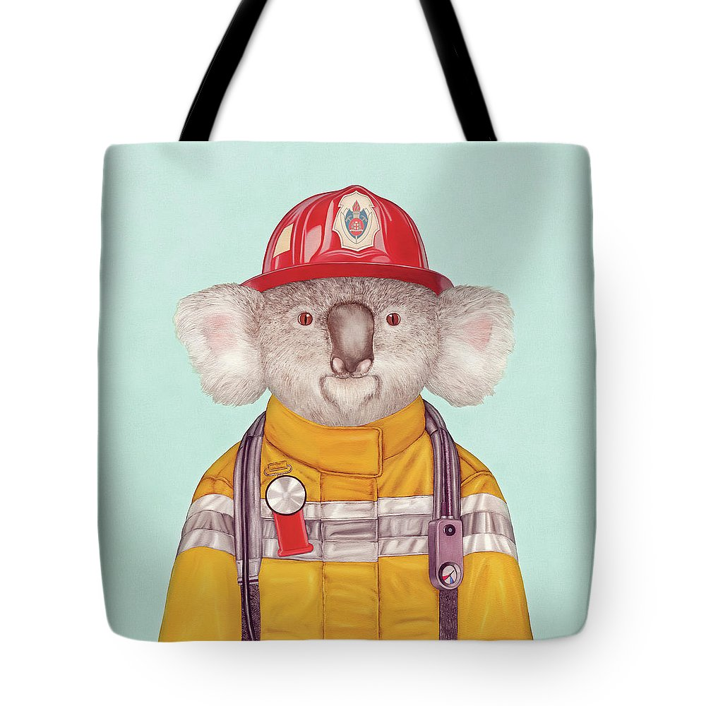 Tote Bag featuring the painting Koala Firefighter by Animal Crew