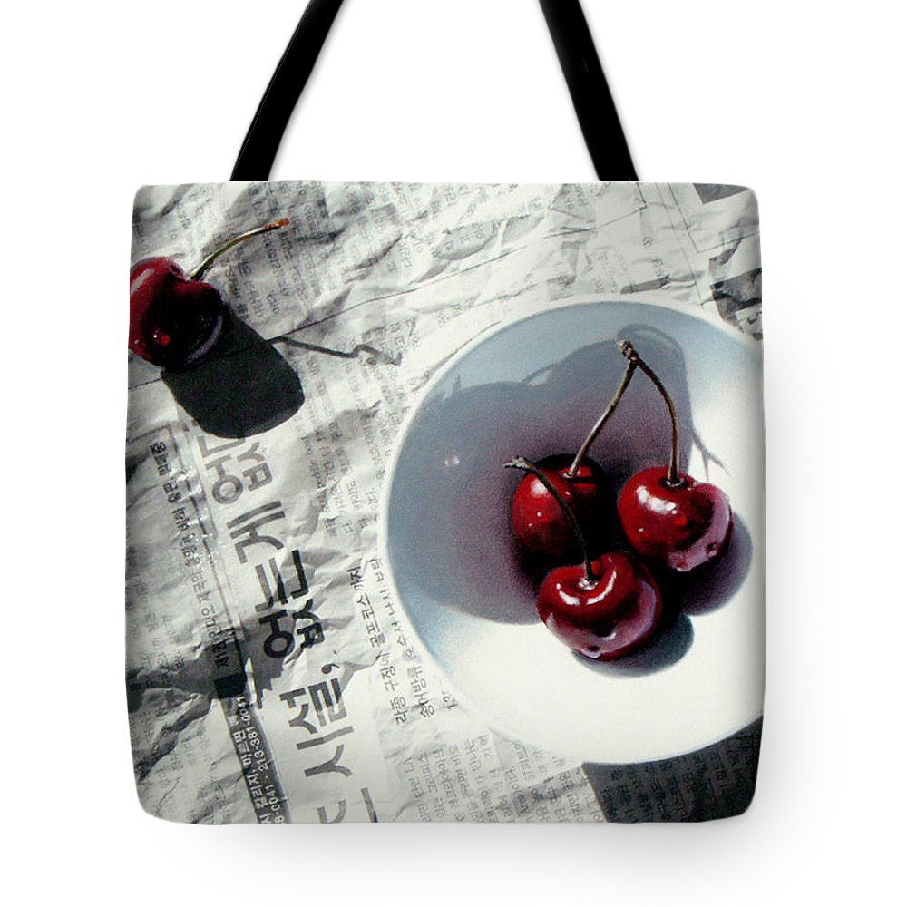 Cherries Tote Bag featuring the painting Korean Cherries by Dianna Ponting