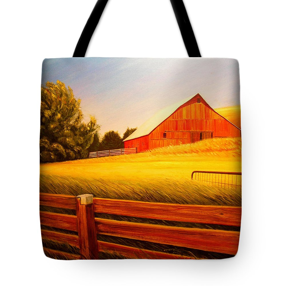 Wheat Tote Bag featuring the painting La Crosse Barn by Leonard Heid