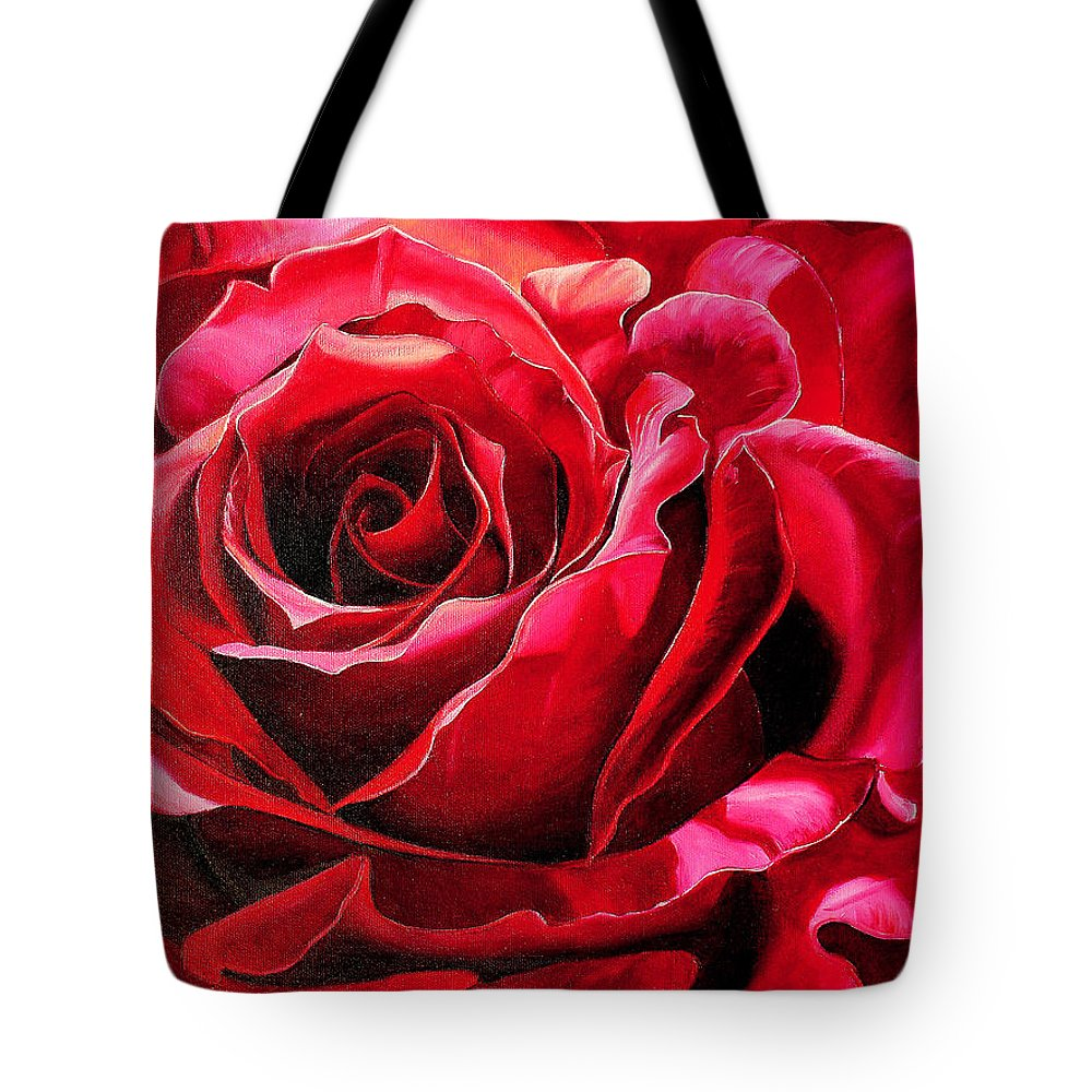 Rose Painting Tote Bag featuring the painting Labelle Rose    by Karin Dawn Kelshall- Best