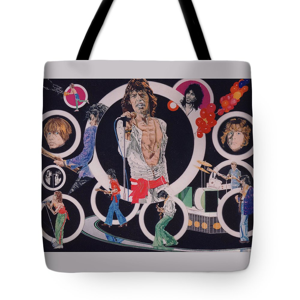 The Rolling Stones Tote Bag featuring the drawing Ladies And Gentlemen - The Rolling Stones by Sean Connolly