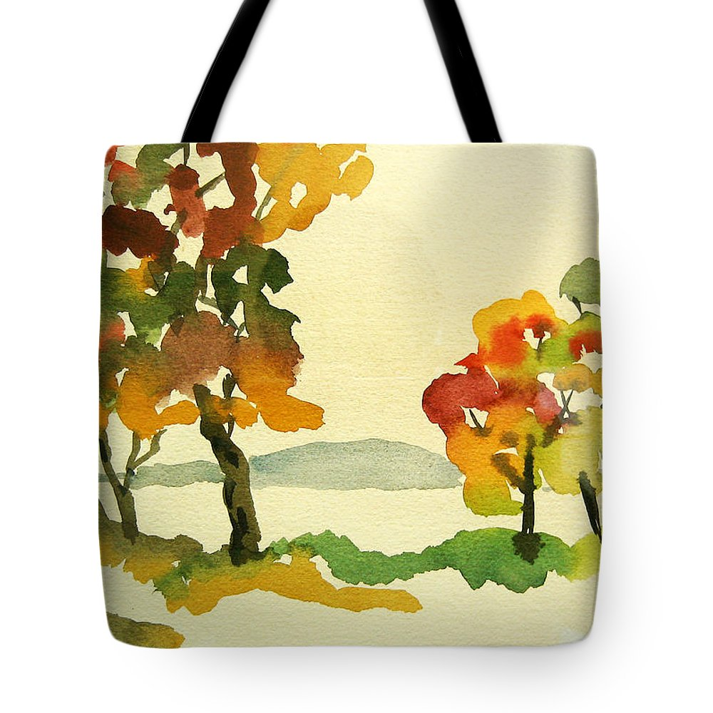 Landscape Tote Bag featuring the painting Lake Study by Mary Ellen Mueller Legault