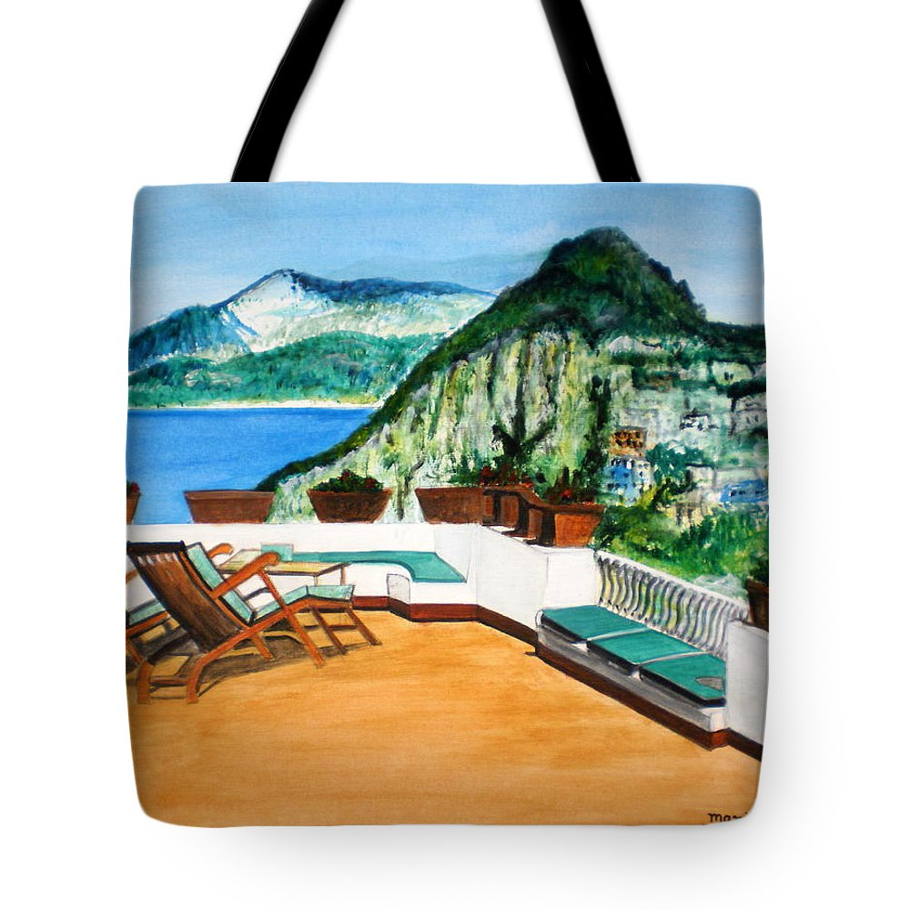 Landscape Water Seascape Art Mountains Acrylic Lounge Chairs Green Sky Blue Flowers Red Tote Bag featuring the painting Landscape Italy by Manjiri Kanvinde