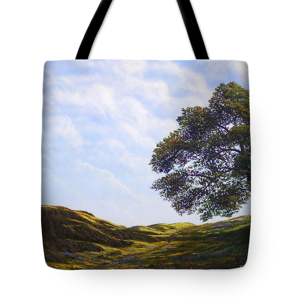 Landscape Tote Bag featuring the painting Lava Rock And Flowers by Frank Wilson