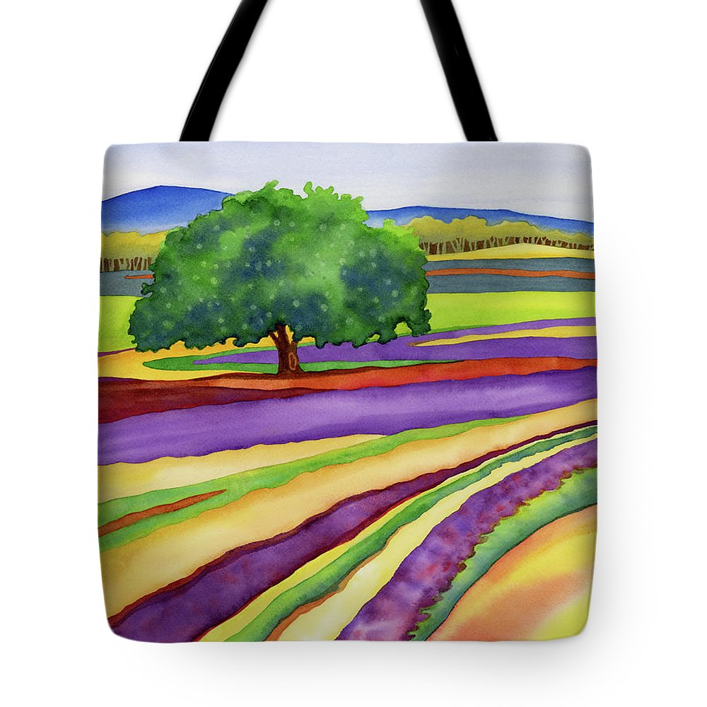 Lavender Tote Bag featuring the painting Lavender Field by Hailey E Herrera