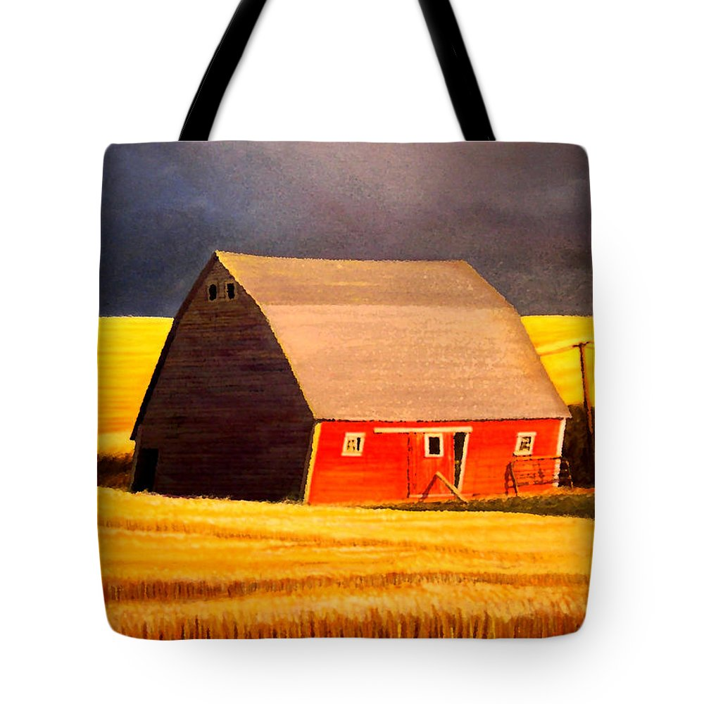 Barn Tote Bag featuring the painting Leans to the Right by Leonard Heid