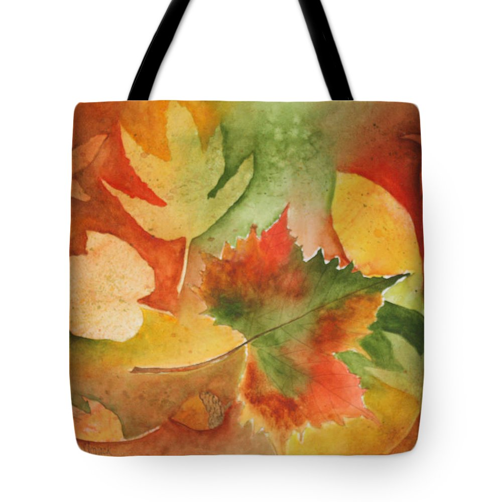 Leaves Tote Bag featuring the painting Leaves III by Patricia Novack