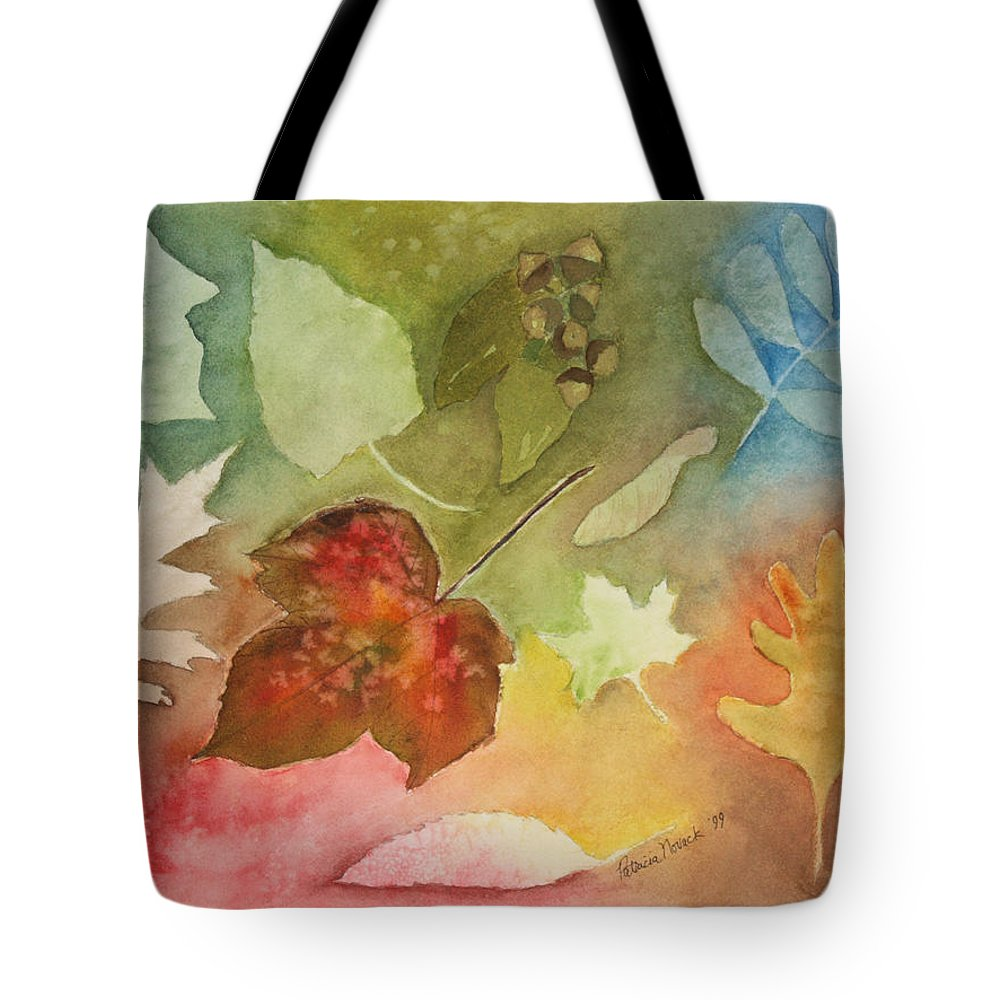 Leaves Tote Bag featuring the painting Leaves V by Patricia Novack
