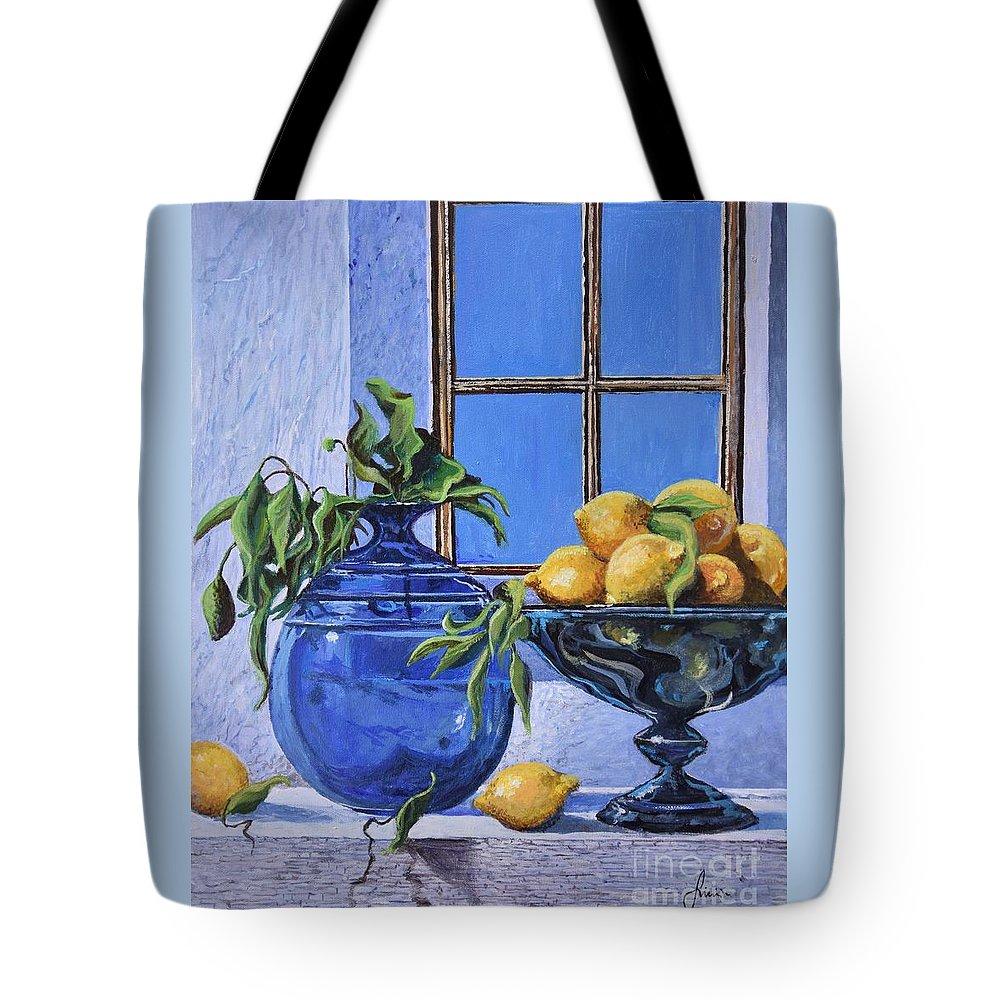 Original Painting Tote Bag featuring the painting Lemons by Sinisa Saratlic