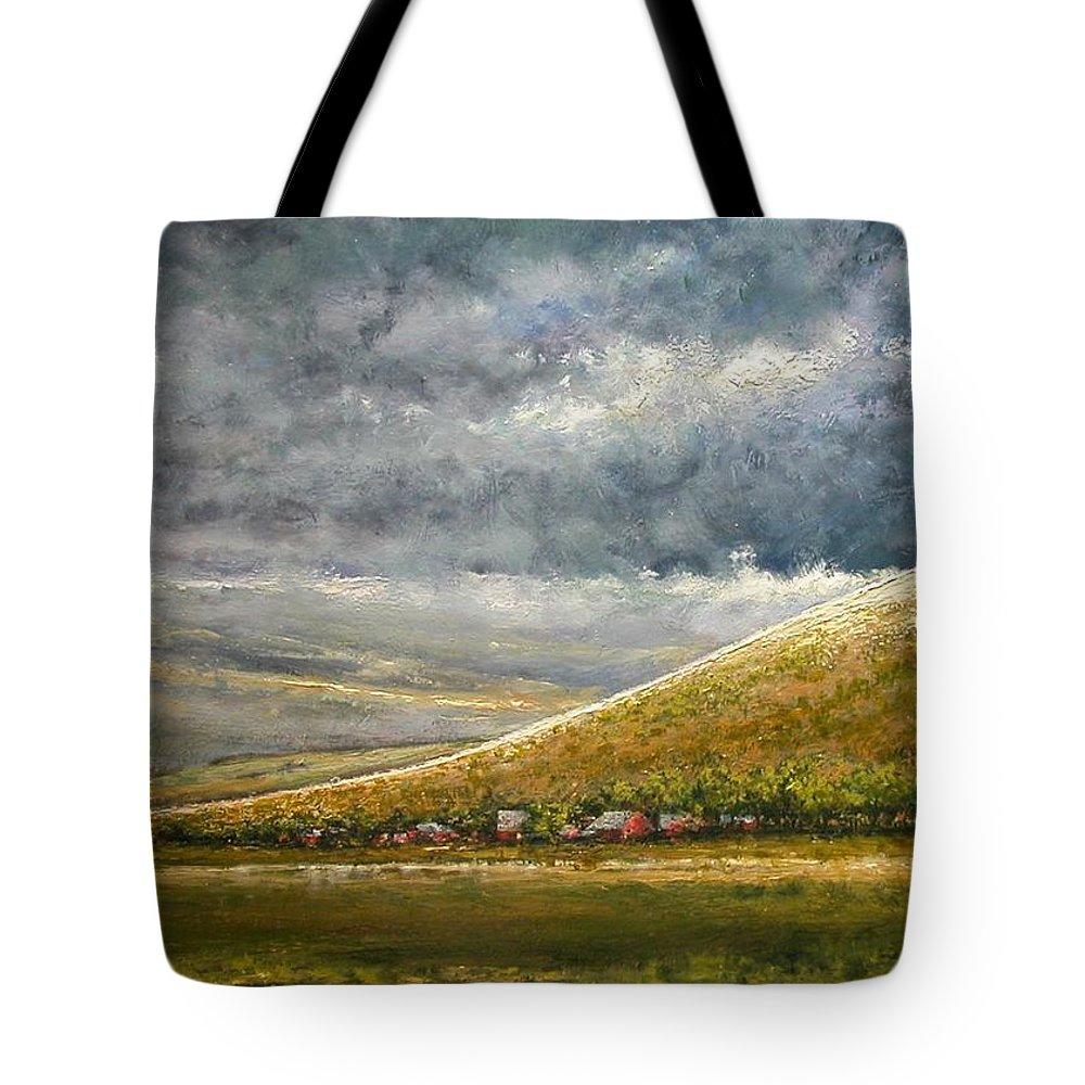 Landscape Tote Bag featuring the painting Lightburst-Jackson Hole by Jim Gola