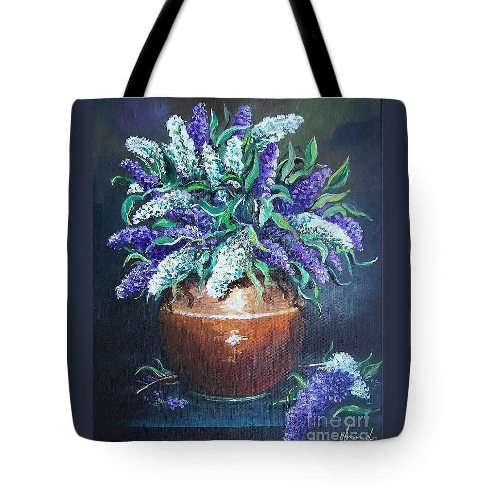 Original Painting Tote Bag featuring the painting Lilac by Sinisa Saratlic