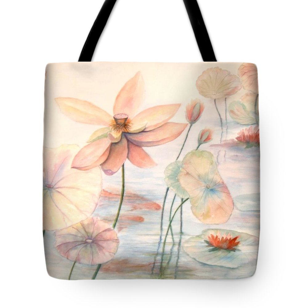 Lily Pads And Lotus Blossoms Tote Bag featuring the painting Lily Pads by Ben Kiger