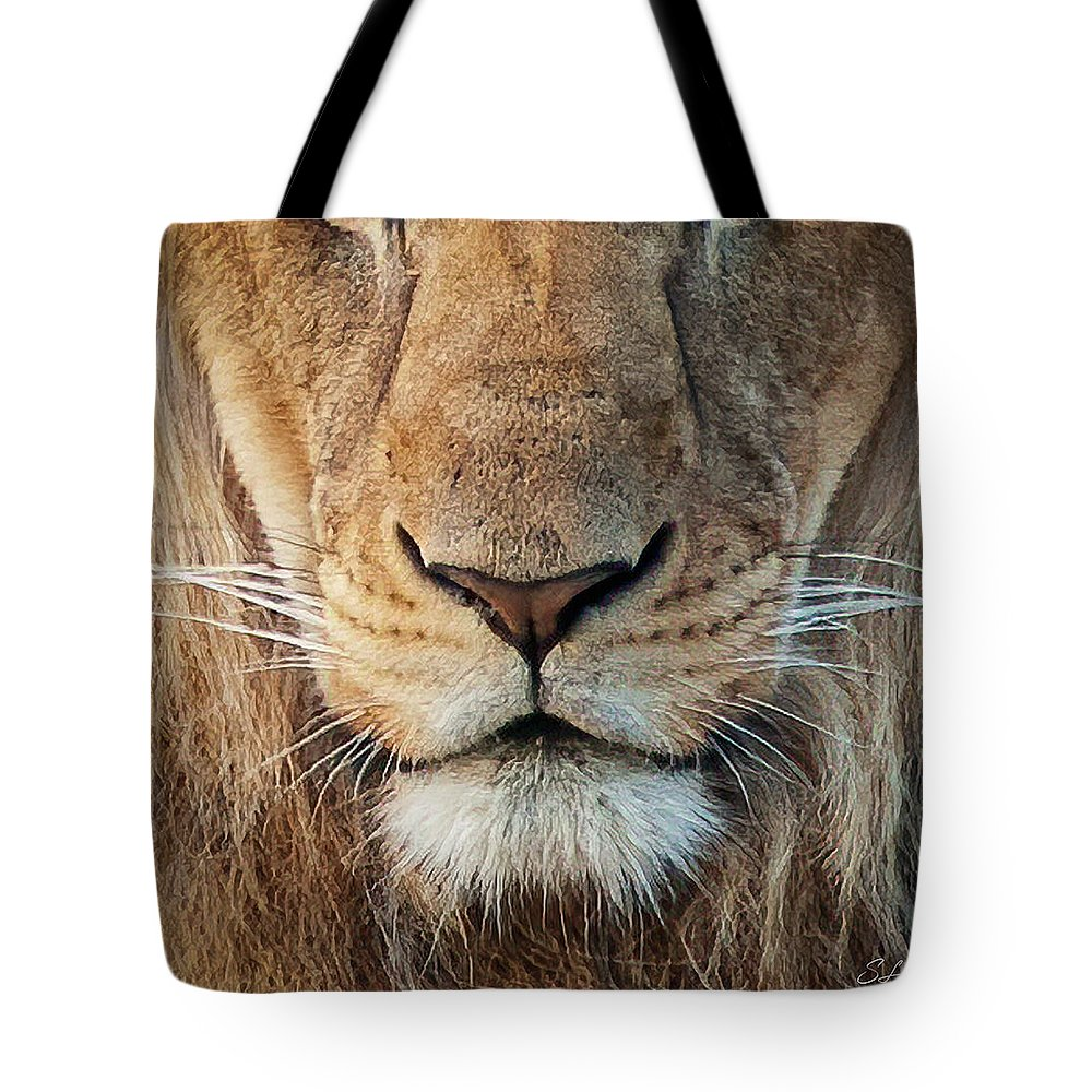 Lion Tote Bag featuring the photograph Lion by Steven Sparks