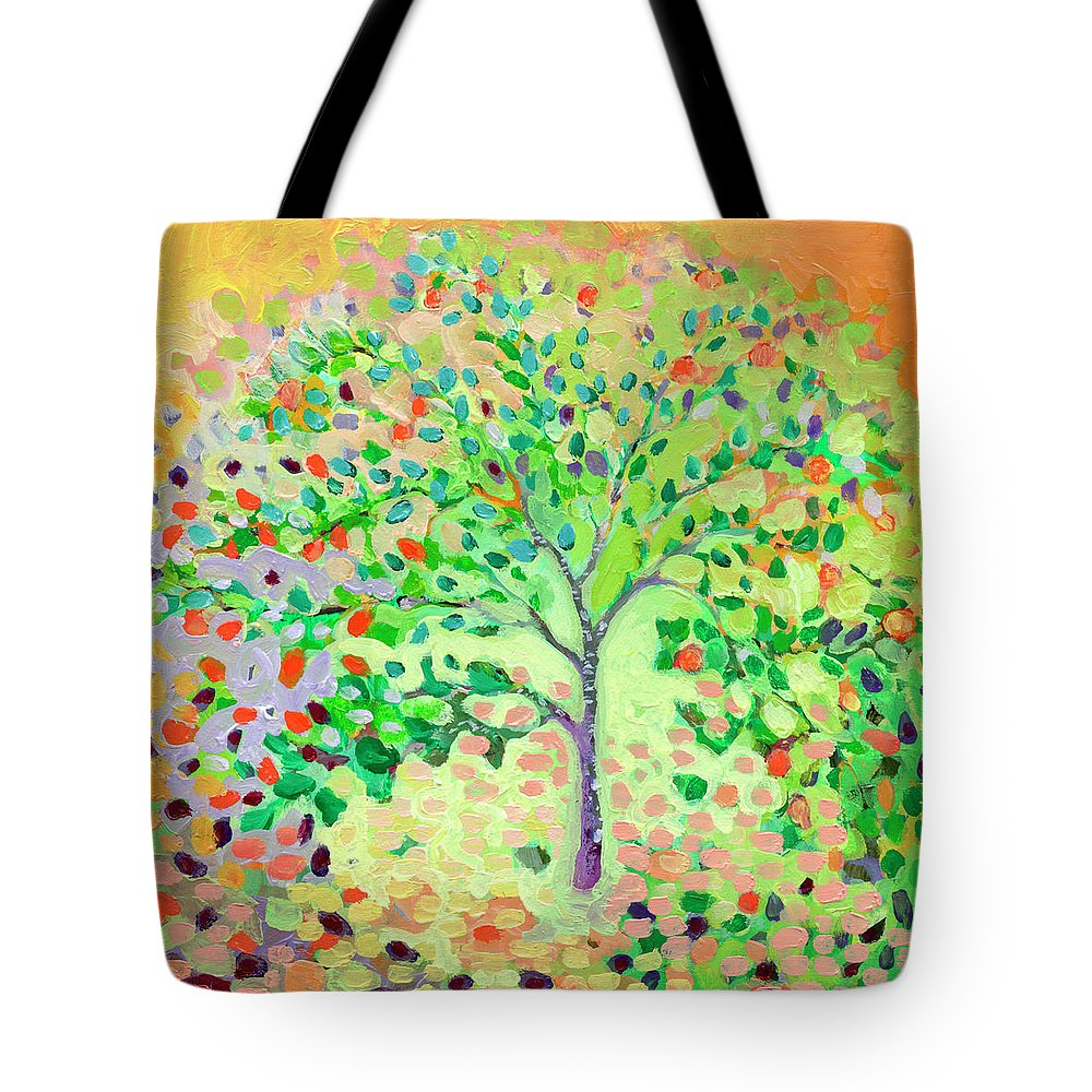 Apple Tote Bag featuring the painting Little Apple Tree by Jennifer Lommers