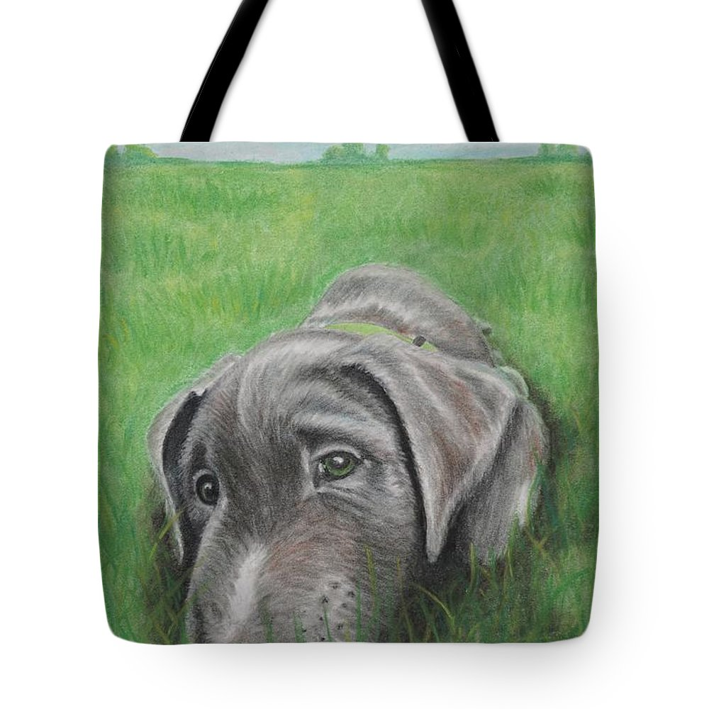 Silver Lab Tote Bag featuring the pastel Little Buddy by Chris Naggy