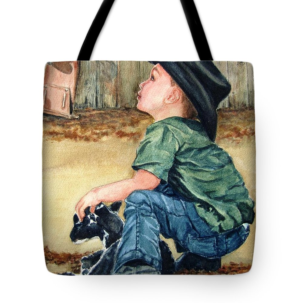 Children Tote Bag featuring the painting Little Ranchhand by Karen Ilari