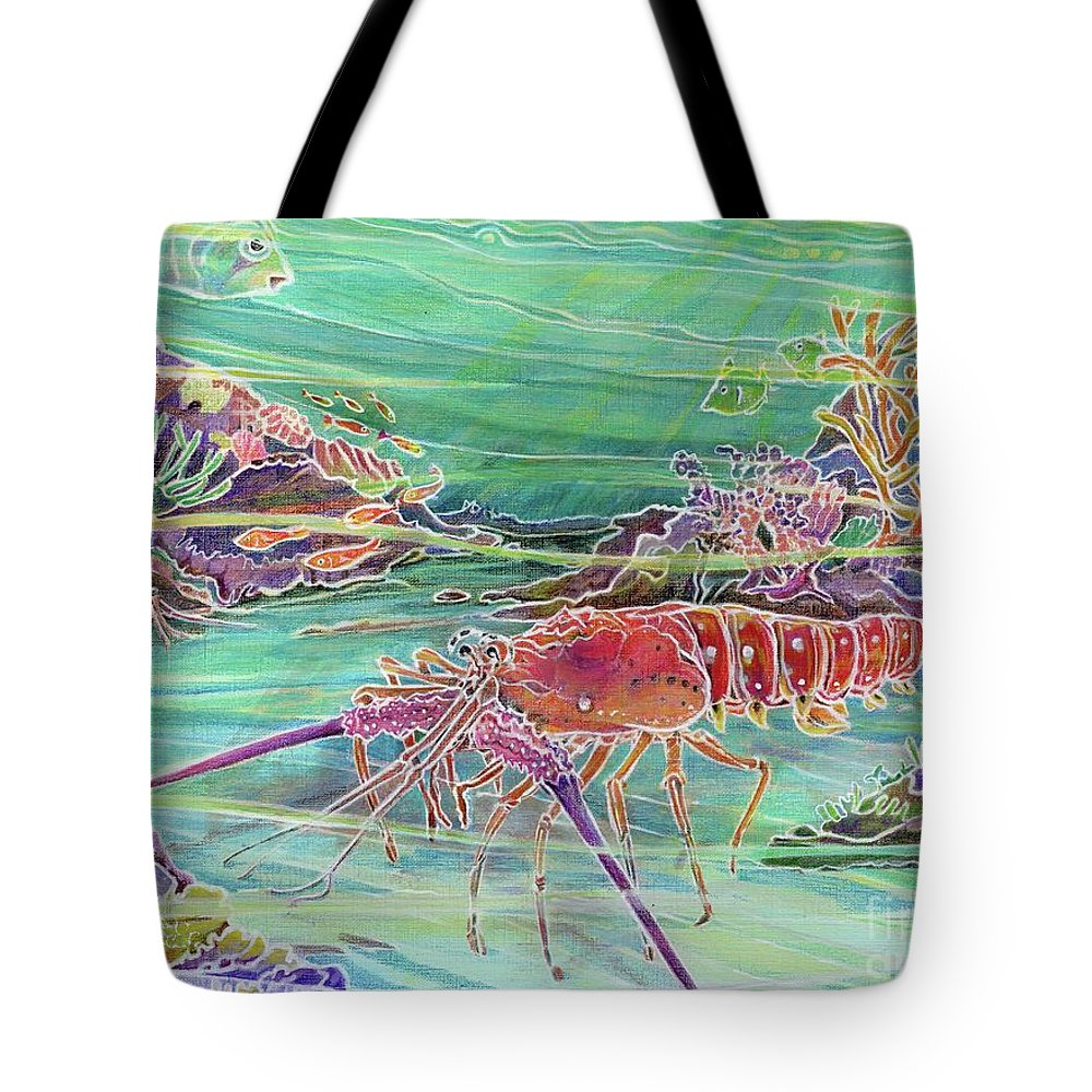 Underwater Tote Bag featuring the painting Lobster Crossing by Amelia at Ameliaworks