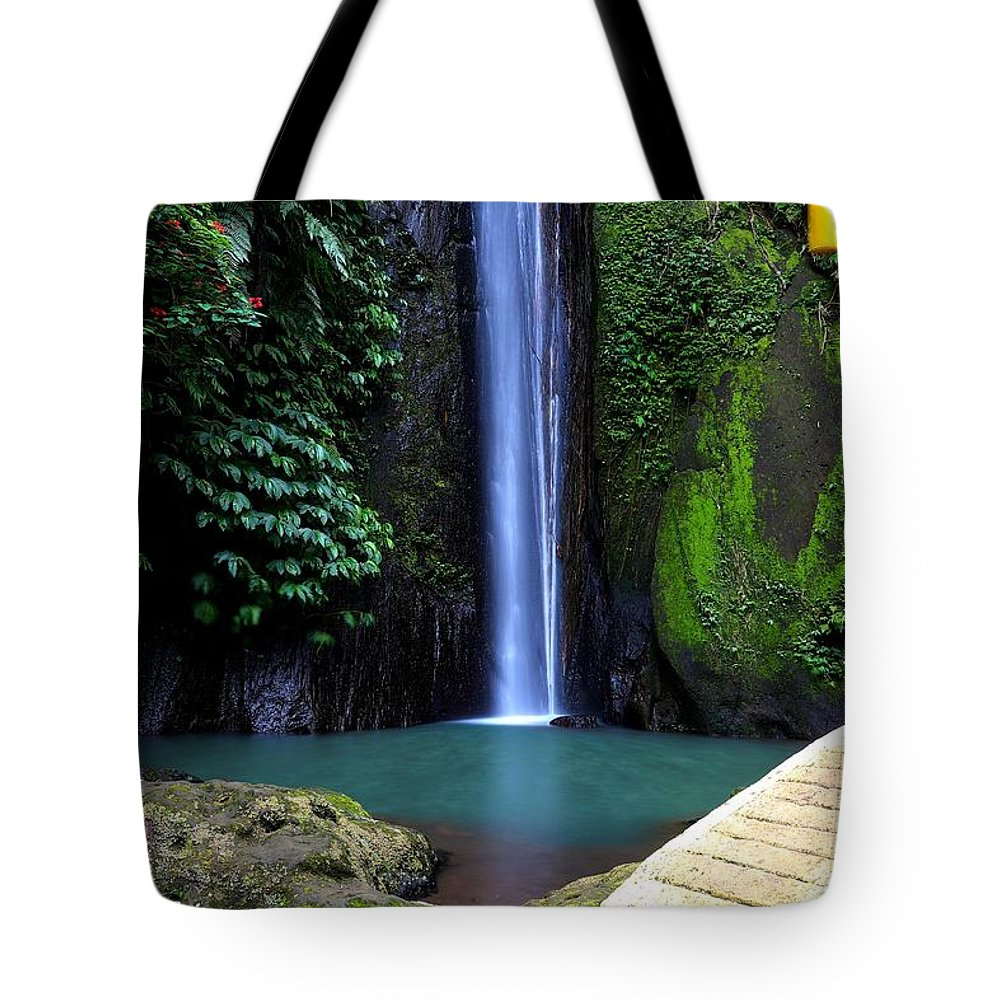 Waterfall Tote Bag featuring the digital art Lonely waterfall by Worldvibes1