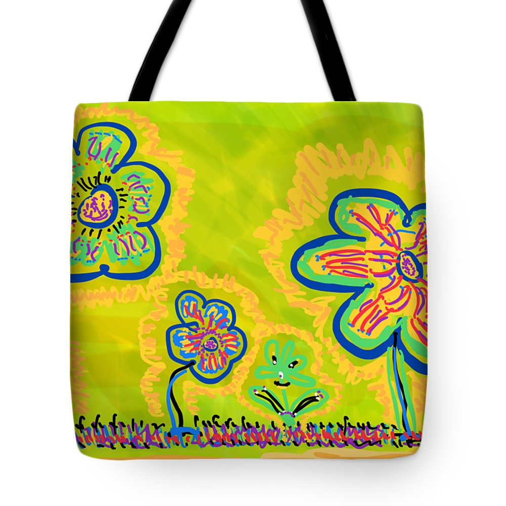 Spring Tote Bag featuring the drawing Looking for Spring by Pam Roth O'Mara
