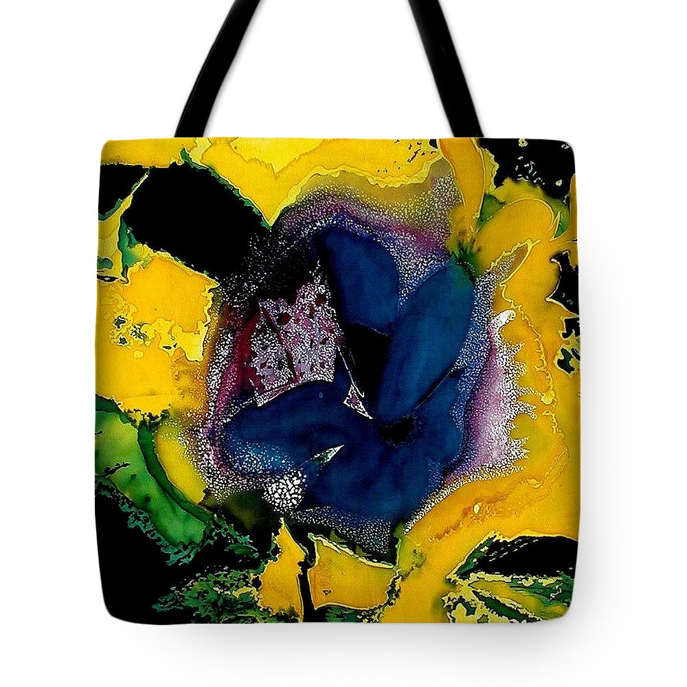 Flora Tote Bag featuring the painting Lotus - Midnight Bloom by Ferril Nawir