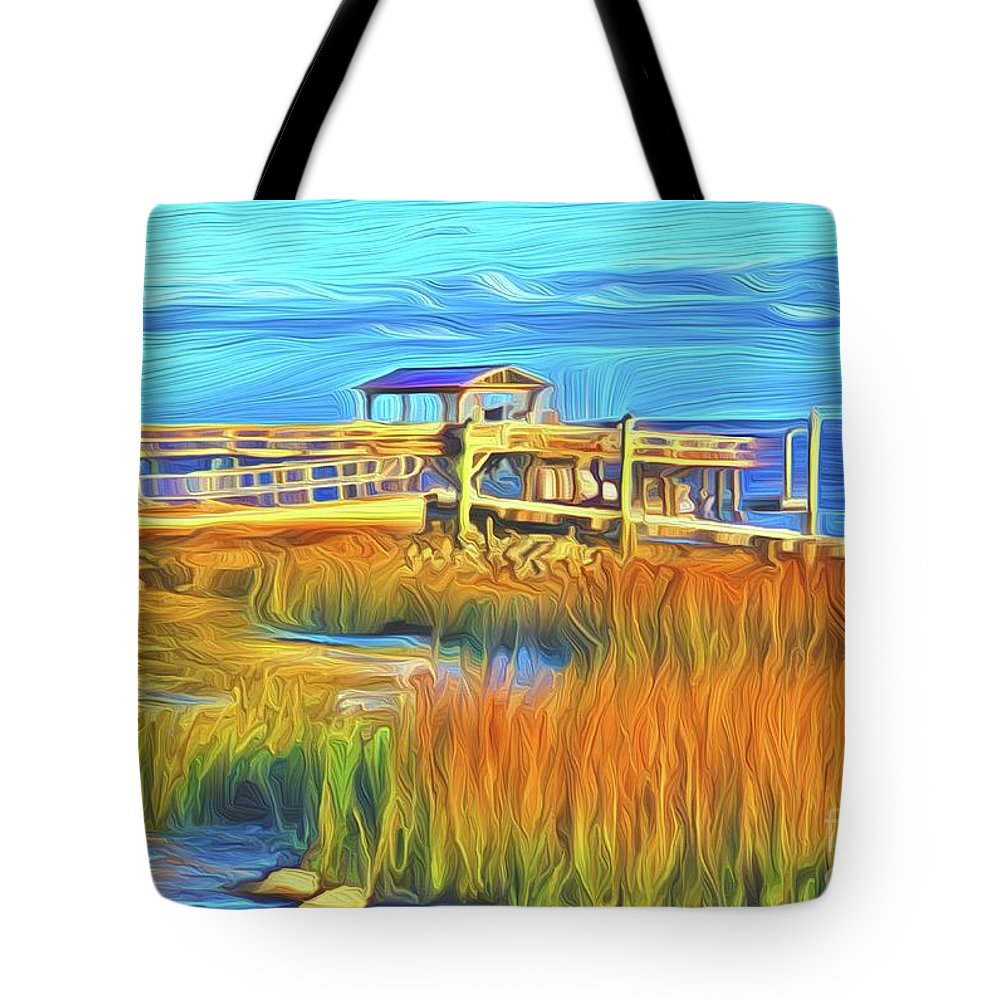 Landscape Tote Bag featuring the digital art Low Country by Michael Stothard