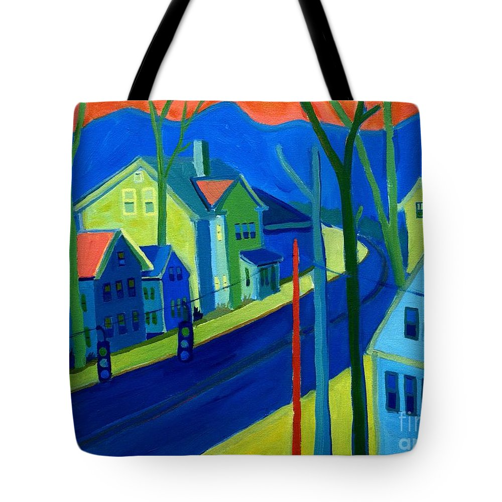 Cityscape Tote Bag featuring the painting Lowell Deluge by Debra Bretton Robinson