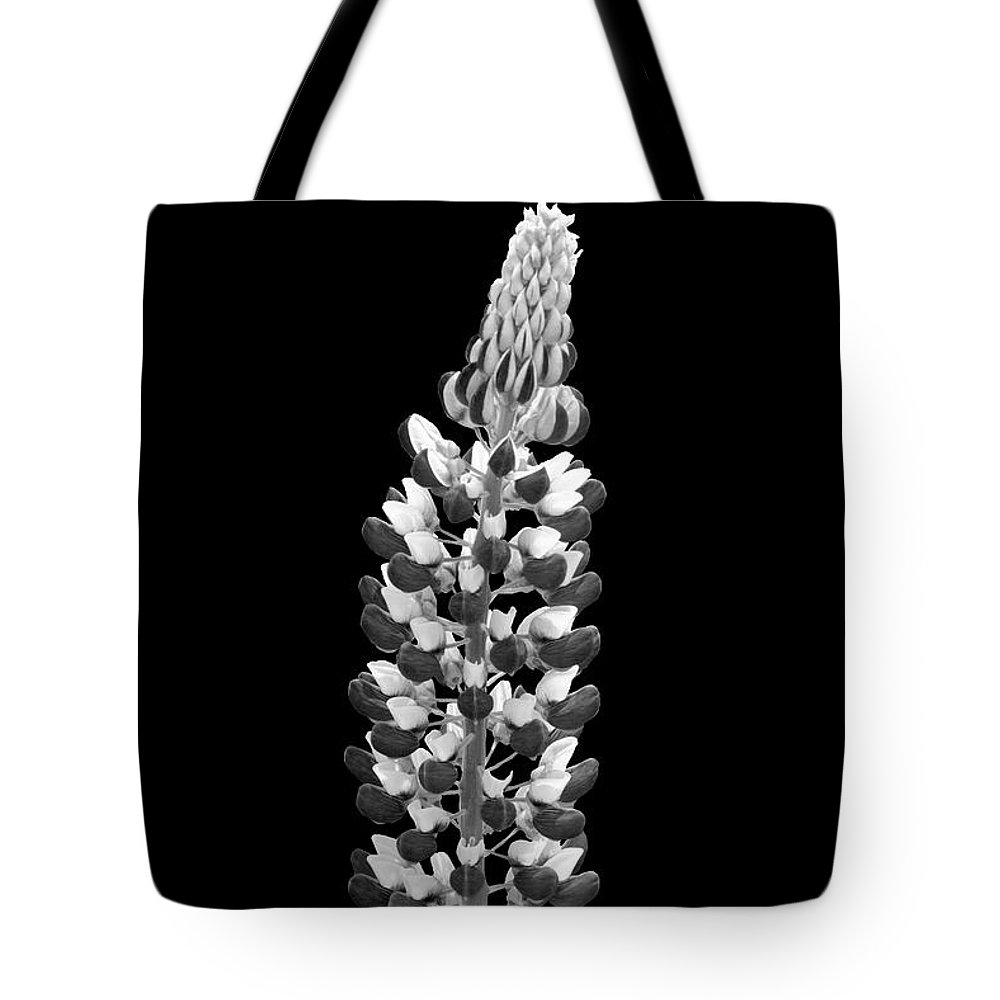 Black And White Flower Photography Tote Bag featuring the photograph Lupine by Trevor Slauenwhite
