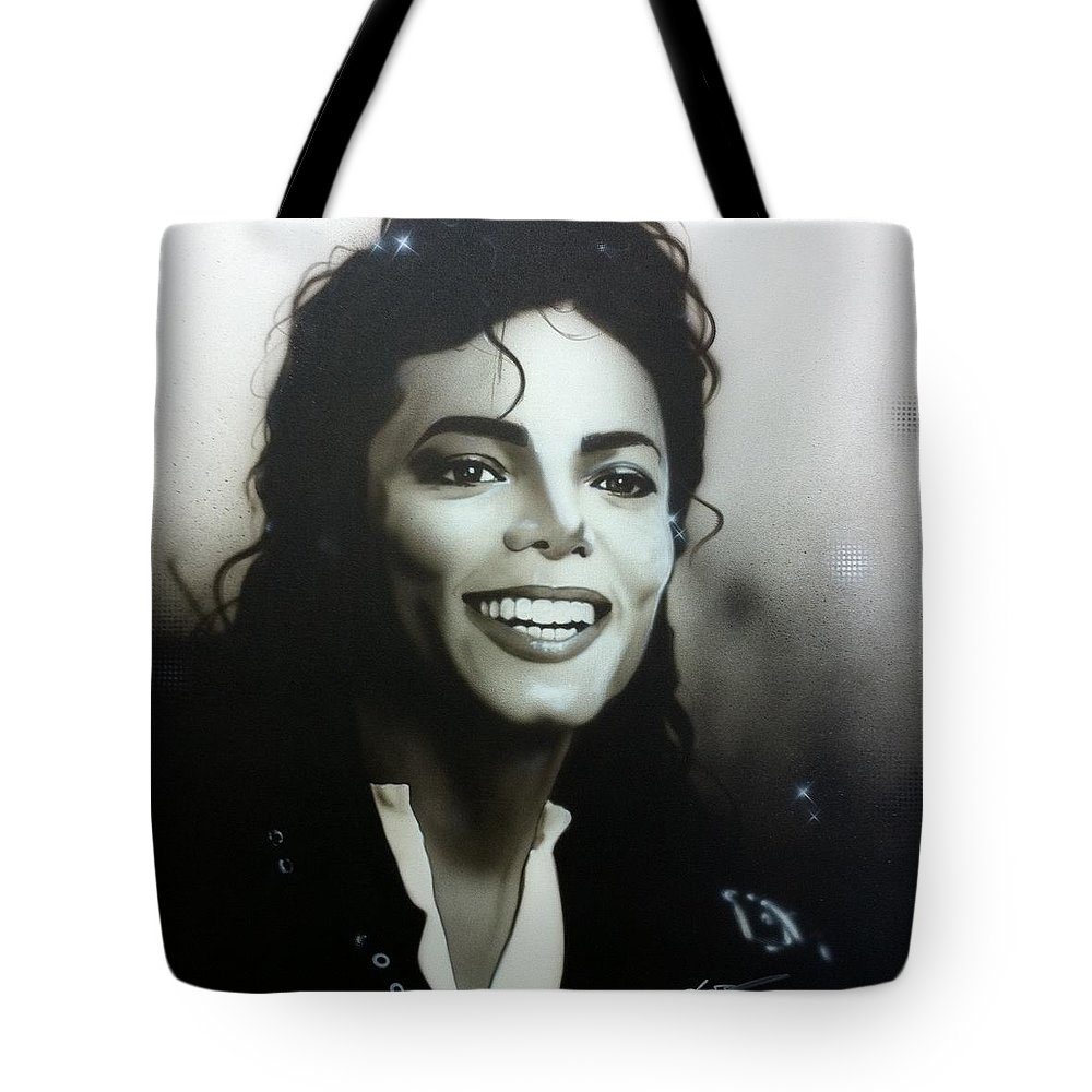 Michael Jackson Tote Bag featuring the painting M. J. by Christian Chapman Art