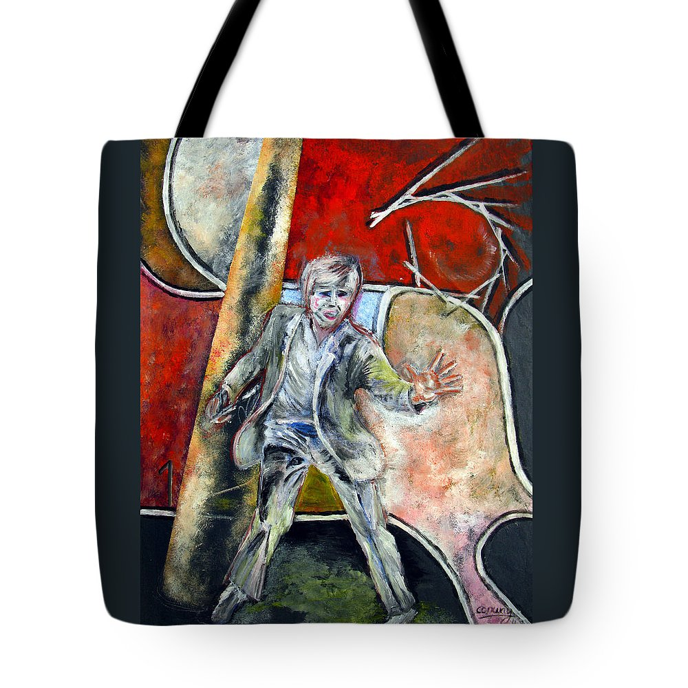 Male Tote Bag featuring the painting Mad World by Tom Conway