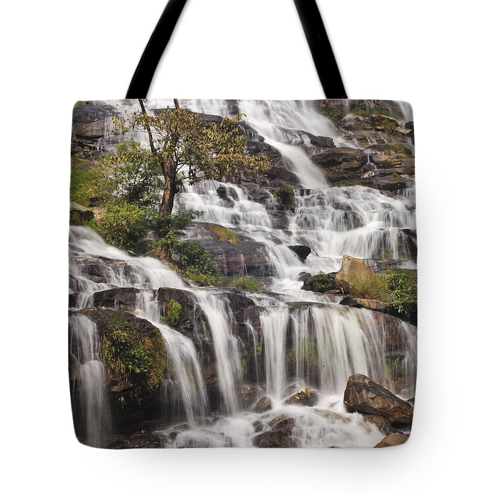 3scape Tote Bag featuring the photograph Mae Ya Waterfall by Adam Romanowicz