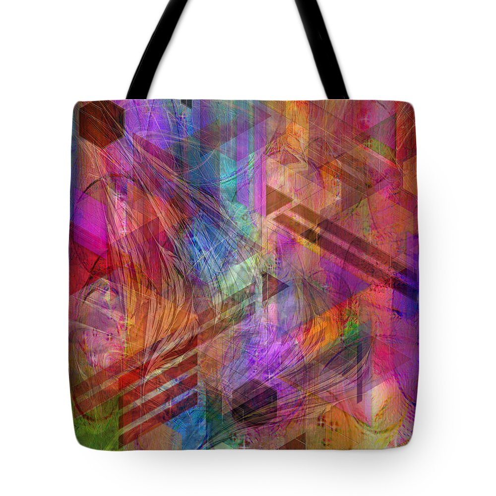 Magnetic Abstraction Tote Bag featuring the digital art Magnetic Abstraction by John Robert Beck