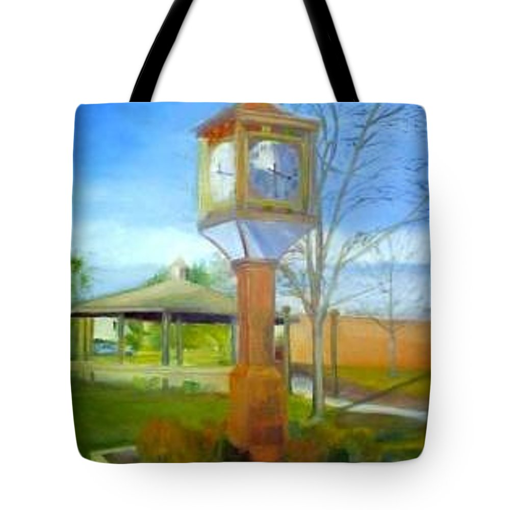 Maple Shade Tote Bag featuring the painting Maple Shade Clock by Sheila Mashaw